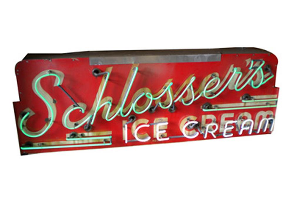Very unusual 1930s-40s Schlossers Ice Cream single-sided neon porcelain soda fountain sign. - Front 3/4 - 130644