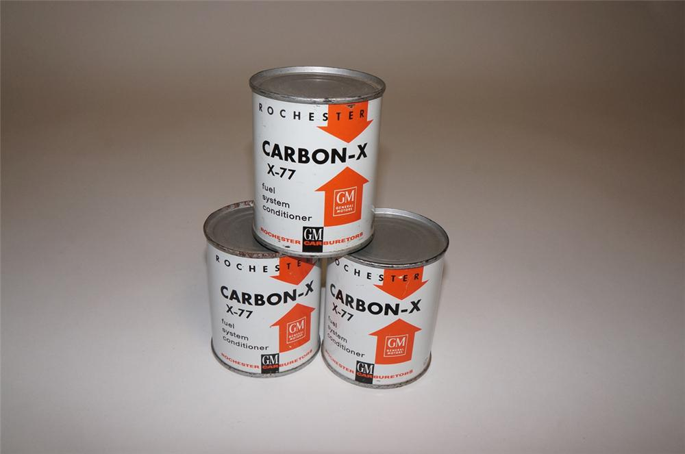 Lot of three hard to find 1950s General Motors Carbon-X automotive fuel system conditioner tins. - Front 3/4 - 130647