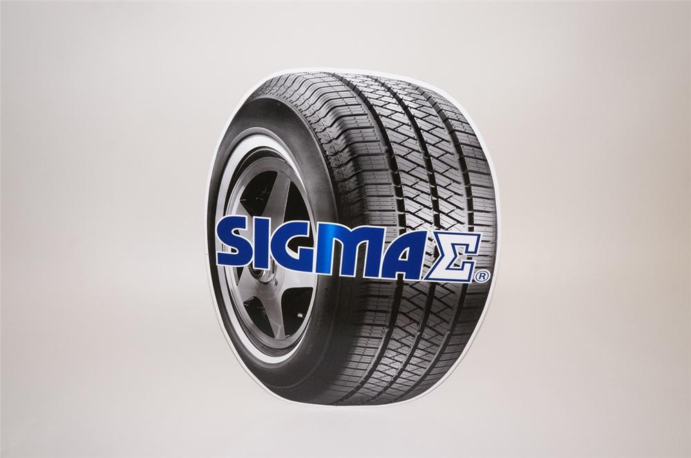 N.O.S. Sigma Tires die-cut tin tire shaped garage sign.  Pulled out of the original shipping paper. - Front 3/4 - 130655