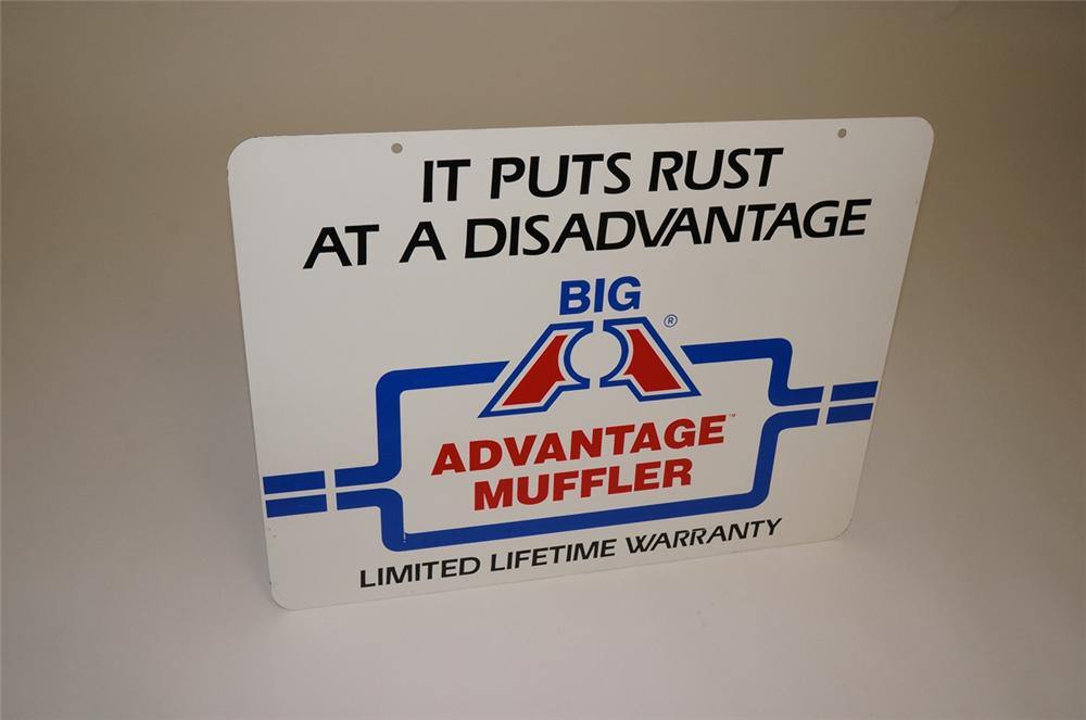 N.O.S. Big A Advantage Muffler double-sided tin painted garage sign. - Front 3/4 - 130657