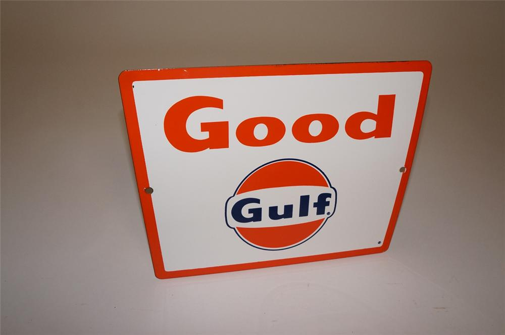 N.O.S. late 1950s-early 60s Good Gulf Gasoline porcelain pump plate sign with Gulf logo. - Front 3/4 - 130659