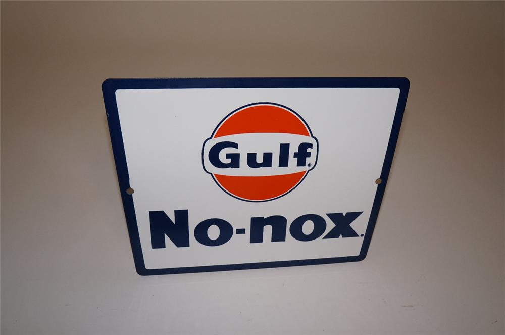 "N.O.S. late 1950s-early 60s Gulf Gasoline ""no-Nox"" porcelain pump plate sign with Gulf logo. - Front 3/4 - 130660"