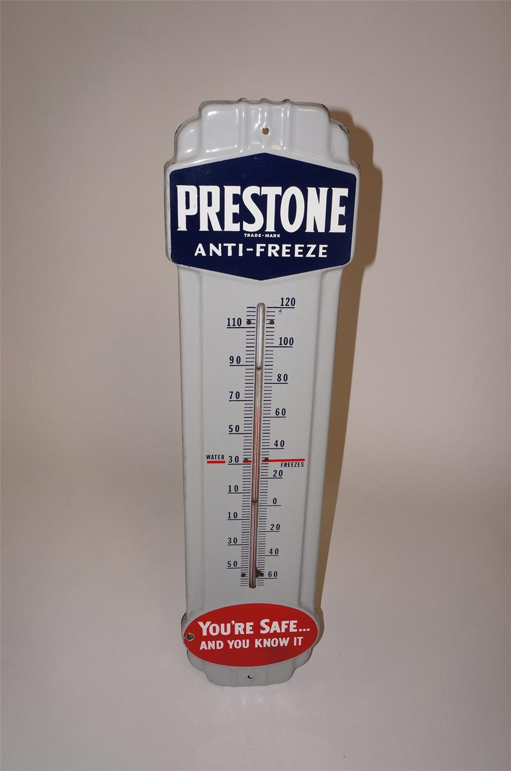 Sharp 1940s-50s Prestone Anti-Freeze over-sized porcelain garage thermometer.  A very nice example!  Condition: Excellent+  ... - Front 3/4 - 130662