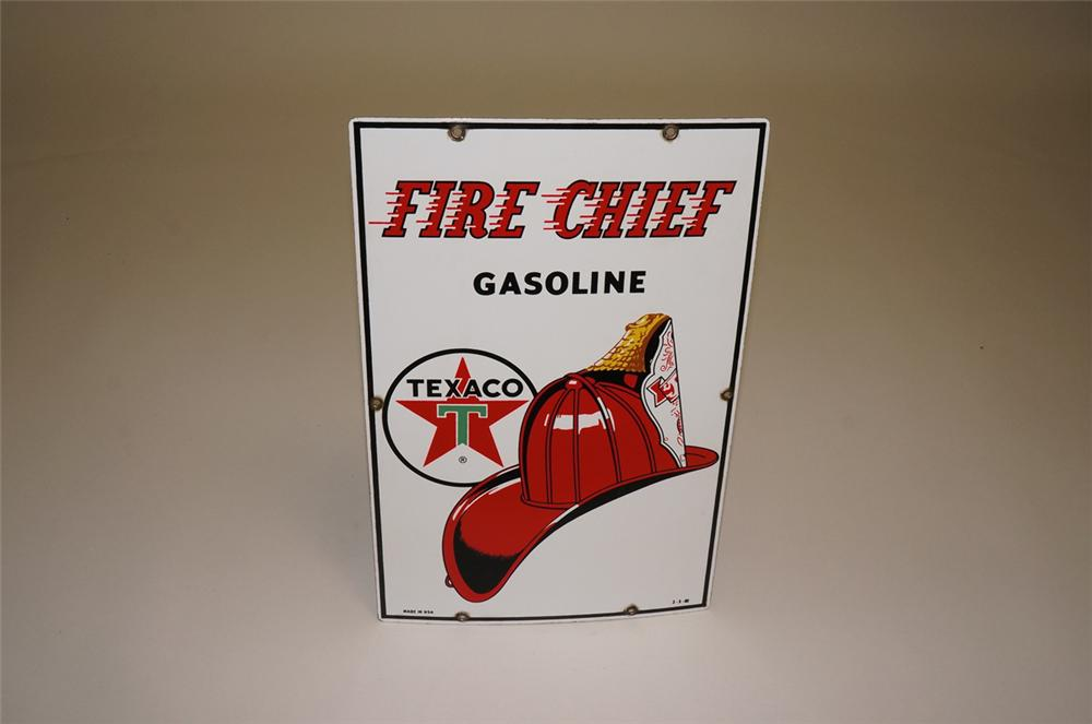 Very nice 1960 Texaco Fire chief Gasoline porcelain pump plate sign with fire chief helmet graphic. - Front 3/4 - 130663