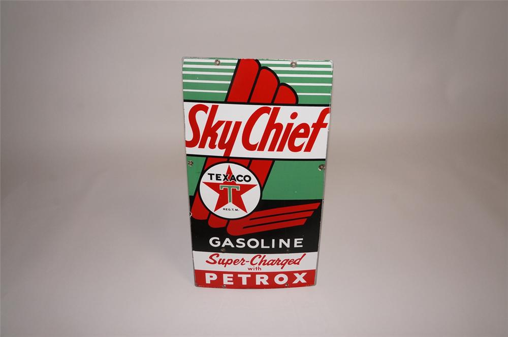 Fabulous 1955 Texaco Sky Chief with Petrox over-sized porcelain pump plate sign. - Front 3/4 - 130668