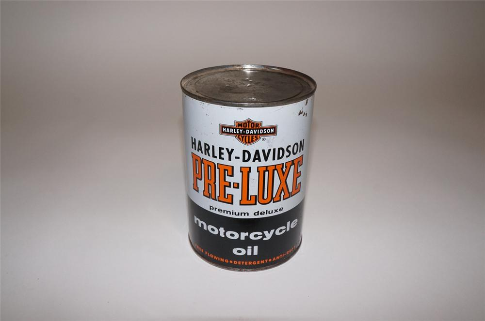 Nearly impossible to find late 1950s Harley-Davidson Pre-Luxe Motor Oil metal quart can. - Front 3/4 - 130671