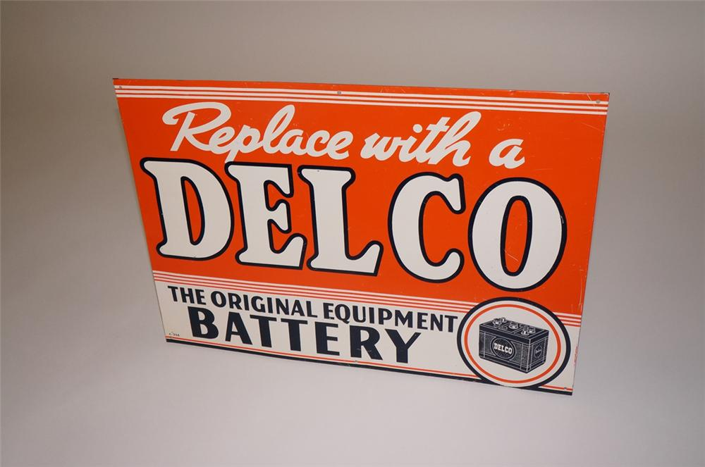 Spectacular 1935 Delco Batteries single-sided tin painted garage sign with period battery graphic. - Front 3/4 - 130672