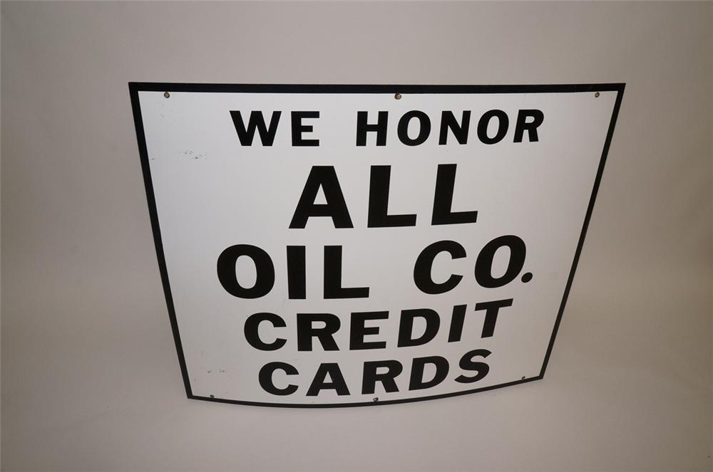 "Large 1950s service station ""We Honor All Oil Company Credit Cards"" single-sided porcelain sign. - Front 3/4 - 130674"
