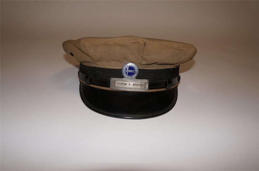 Fun 1940s-50s Standard Oil Company service station attendants hat with original hat badge. - Front 3/4 - 130675