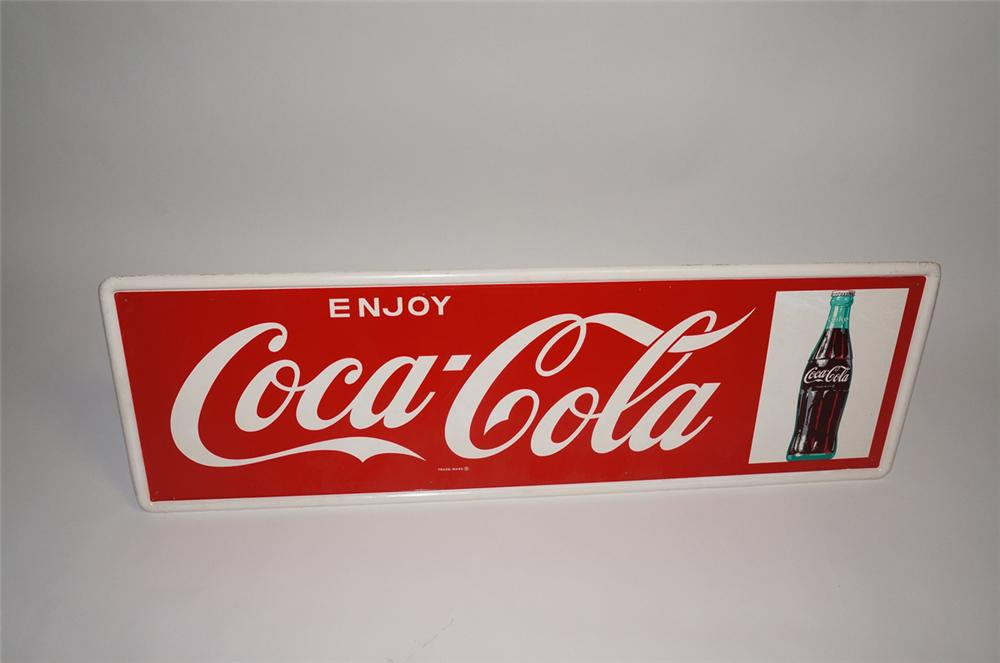 Good looking 1960s Enjoy Coca-Cola self-framed horizontal tin filling station sign with bottle graphic. - Front 3/4 - 130677