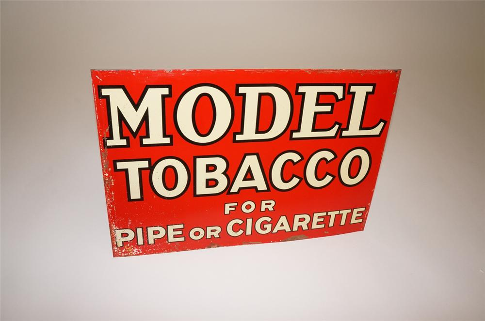 N.O.S. 1938 Model Tobacco tin painted general store sign. - Front 3/4 - 130678