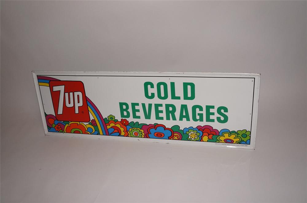 "Very cool 1973 7-up ""Cold Beverages"" horizontal embossed tin service station/general store sign - Front 3/4 - 130681"