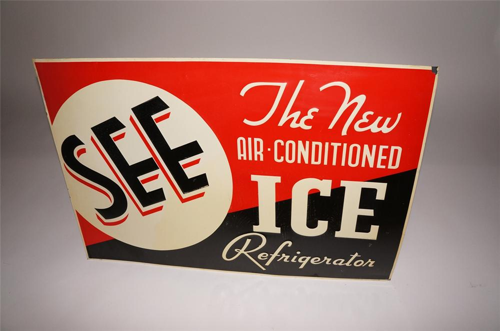 "N.O.S. 1930s ""See the Air-Conditioned Ice Refrigerator"" tin sign.  Found in the original paper!! - Front 3/4 - 130682"