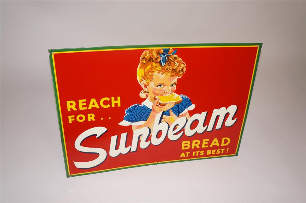 "Stupendous 1940s-50s Sunbeam Bread ""Reach for. Bread at its Best"" single-sided embossed tin general store sign - Front 3/4 - 130683"