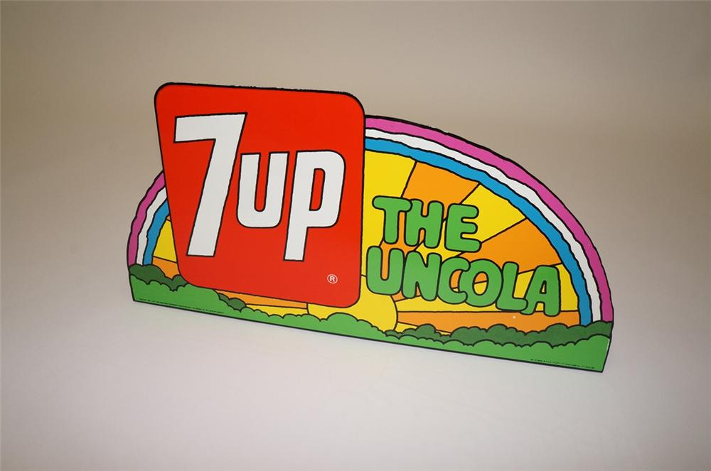 N.O.S. 1971 7-Up the Uncola tin sign with Peter Maxx graphics.  Found in the original shipping paper! - Front 3/4 - 130690