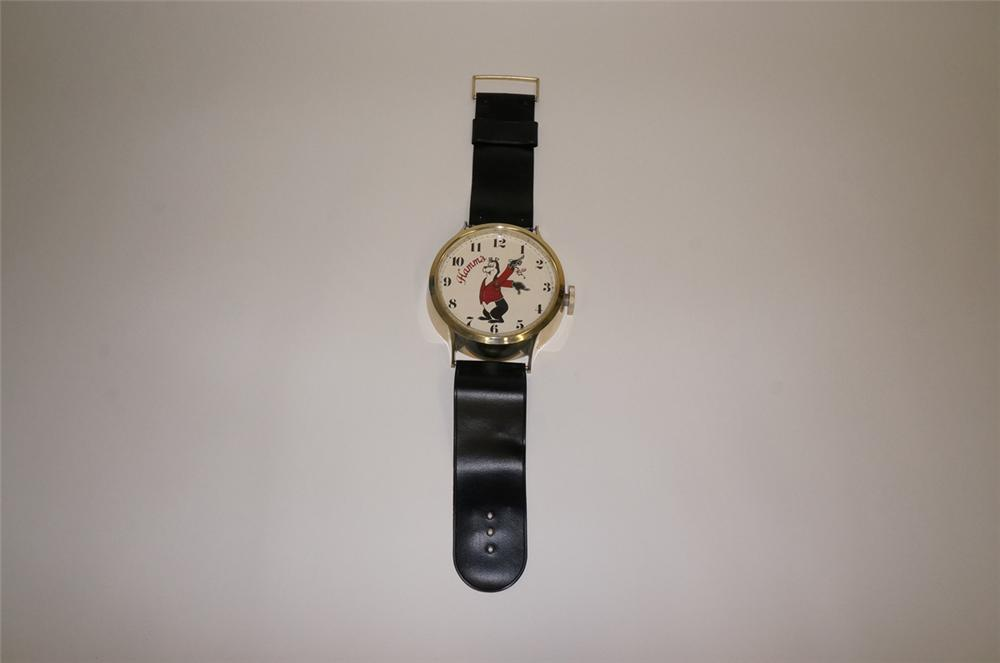 Fantastic1960s  Hamms Beer wrist watched shaped tavern clock. - Front 3/4 - 130692
