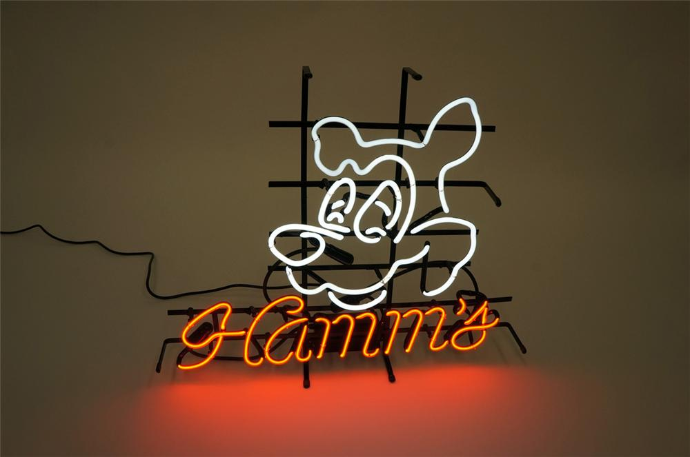 Fun N.O.S. Hamms Beer neon tavern sign with iconic Hamms Bear logo.  Found unused. - Front 3/4 - 130694