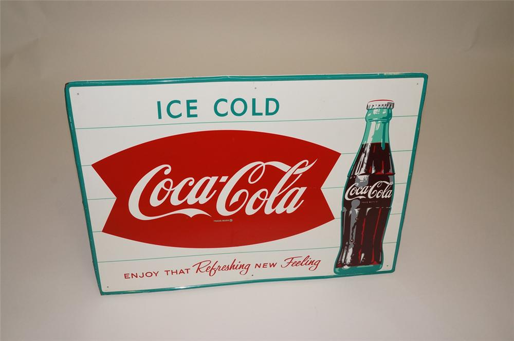 Late 1950s Ice Cold Coca-Cola tin sign with fishtail logo and bottle. - Front 3/4 - 130695
