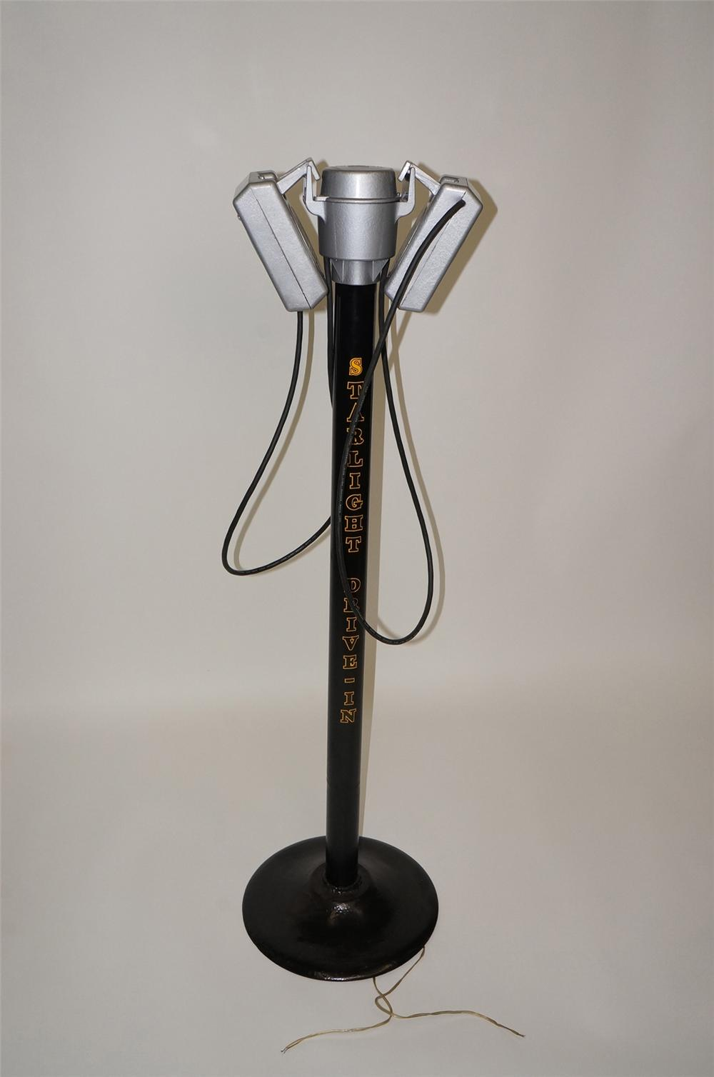 Nicely restored 1950s Starlight-Drive In speakers on stand. - Front 3/4 - 130696