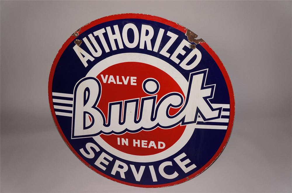 "Highly desirable 1950s Buick ""Valve in Head"" Authorized Service double-sided porcelain dealership sign. - Front 3/4 - 130698"