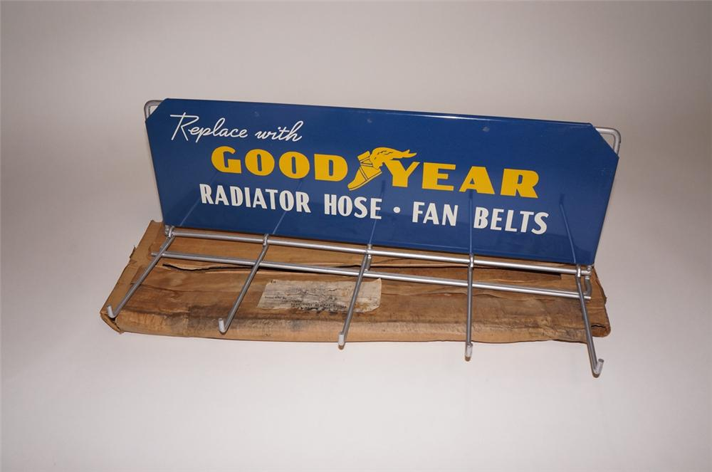 Choice N.O.S. 1940s-50s Goodyear Radiator Hose-Fan Belts automotive garage display rack found in the original box. - Front 3/4 - 130699