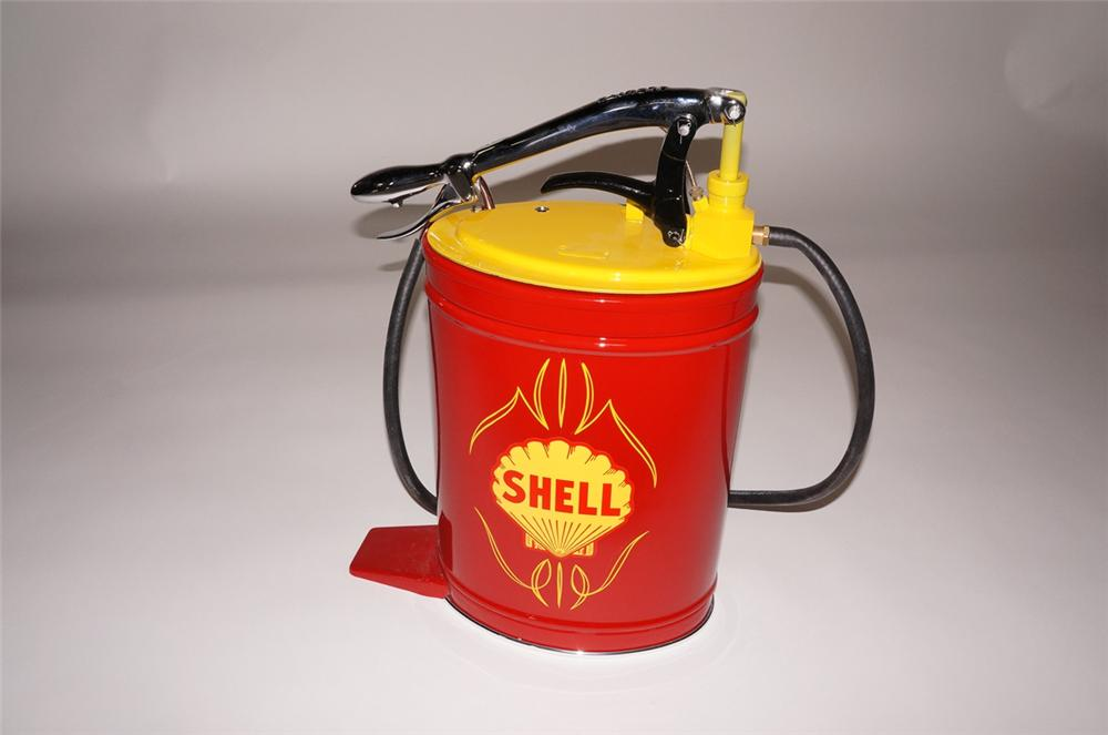 Amazing 1940s-50s Shell Oil Alemite five gallon hand pump greaser.  Professionally restored and re-chromed. - Front 3/4 - 130704