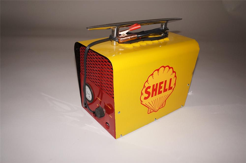 Nifty 1950s Shell Oil portable battery charger which has been aesthetically restored to original. - Front 3/4 - 130705