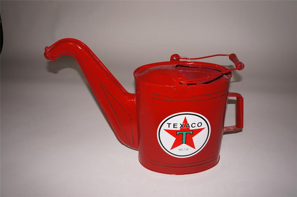 Choice 1920s-30s Texaco Oil filling station radiator service/water can with art deco lines. - Front 3/4 - 130709