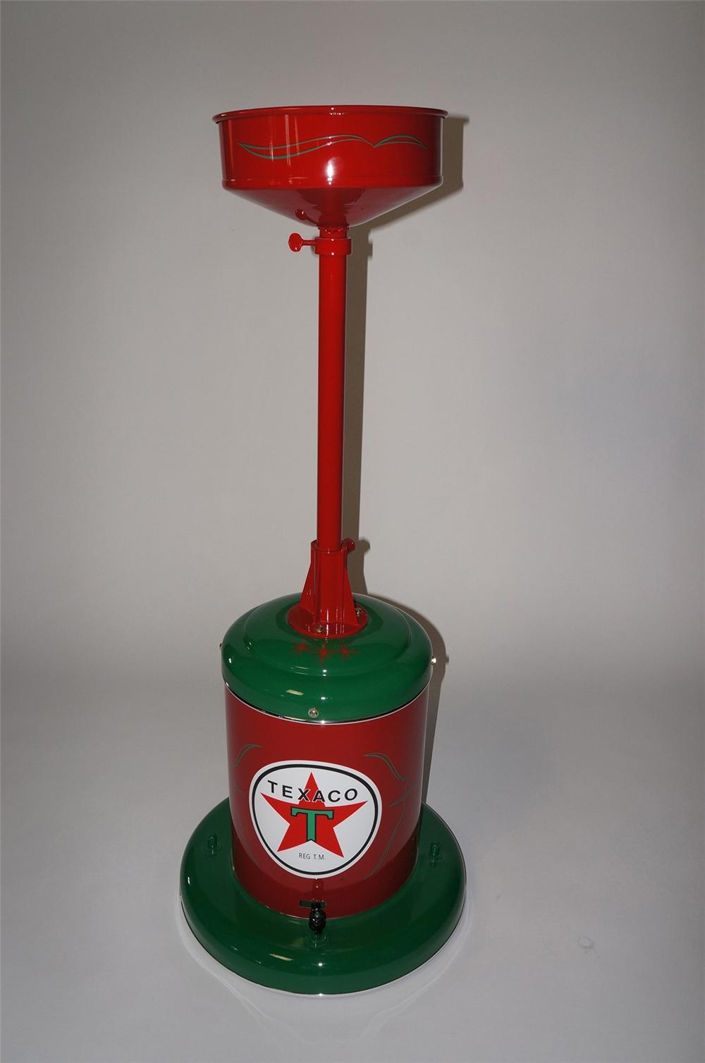 Nicely restored 1940s-50s Texaco service department oil collector on wheels. - Front 3/4 - 130710