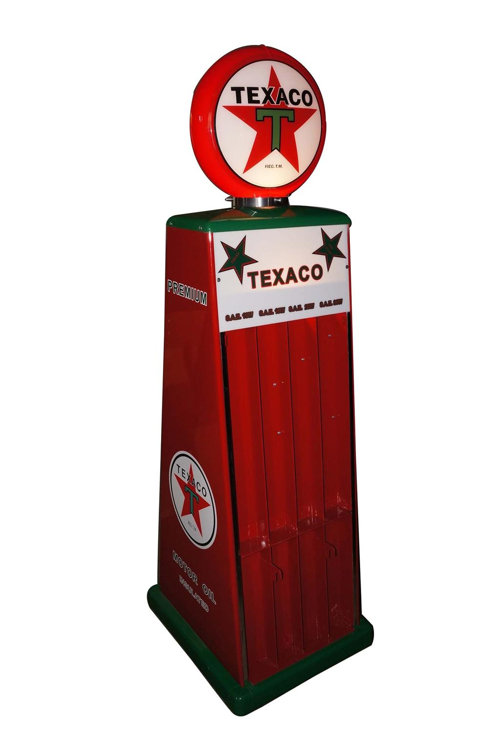 Superlative 1940s-50s restored Texaco Oil service station U-Sell fuel island quart can display stand with lit-top. - Front 3/4 - 130714