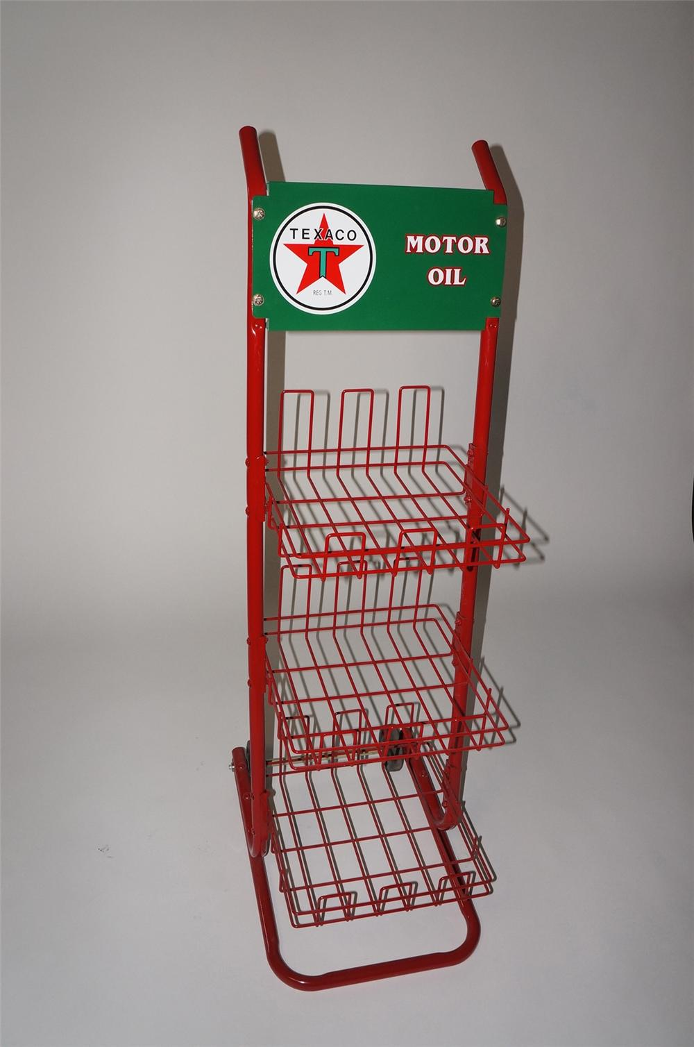 Fabulous 1950s restored  Texaco Oil service station fuel island display cart for oil/batteries, and more. - Front 3/4 - 130715