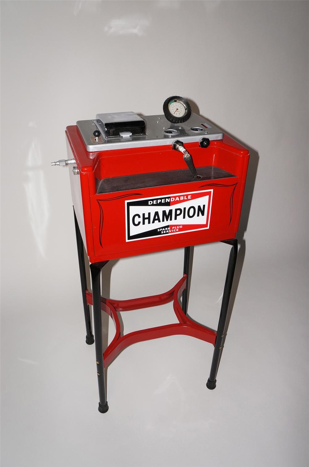 Outstanding 1940s-50s Champion Spark Plugs restored service station plug cleaner/servicer on stand. - Front 3/4 - 130716