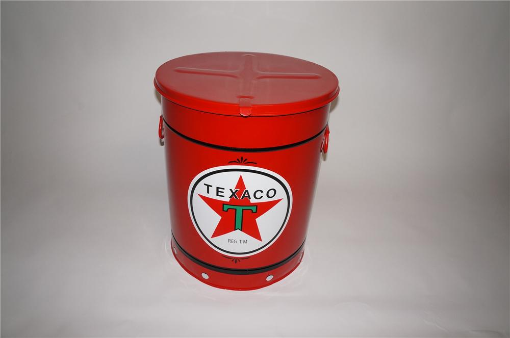 Incredible 1930s-40s restored Texaco Oil service department over-sized oil rag can - Front 3/4 - 130741