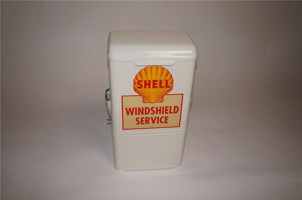 Nicely restored vintage Shell Oil fuel island windshield service paper dispenser. - Front 3/4 - 130742