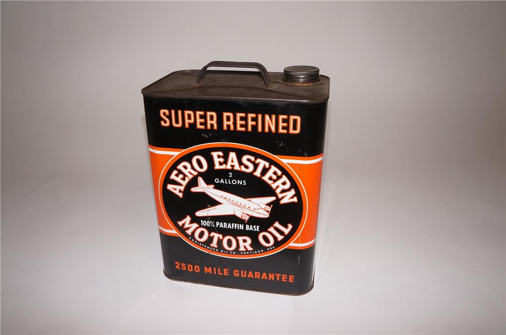 Impressive 1950s Aero Eastern Motor Oil 2 gallon oil tin with airplane graphics. - Front 3/4 - 130744