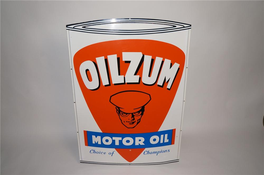Spectacular N.O.S. 1950s Oilzum Motor Oil single-sided tin painted can shaped automotive garage sign. - Front 3/4 - 130748