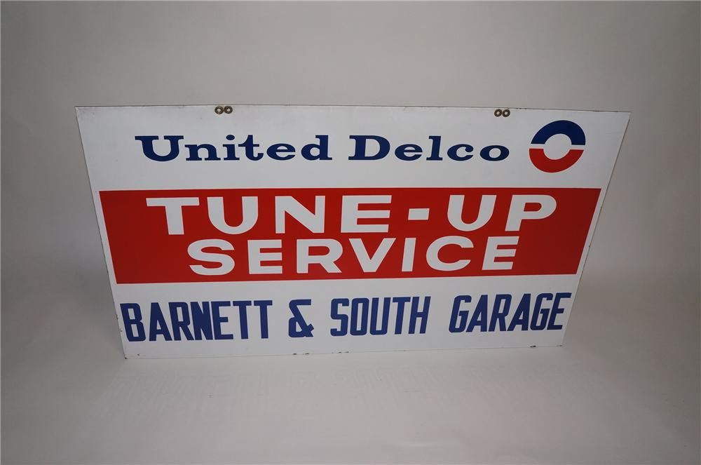 "Very clean 1960s GM United Delco ""Tune-Up Service"" double-sided porcelain automotive garage sign. - Front 3/4 - 130751"
