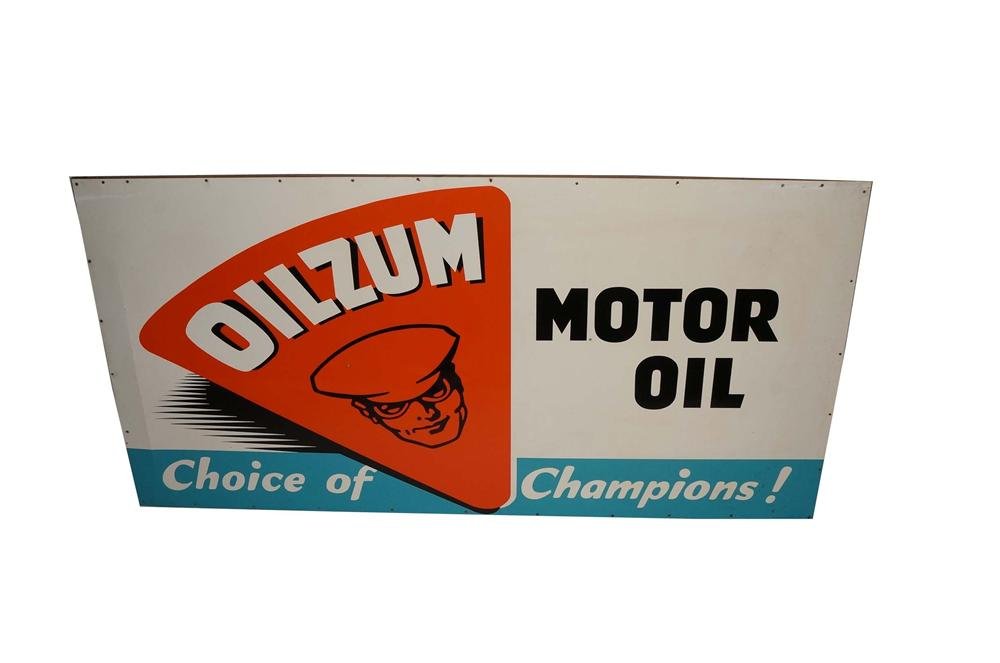 "Vintage N.O.S. Oilzum Motor Oil ""Choice of Champions"" wood framed single-sided tin garage sign. - Front 3/4 - 130755"