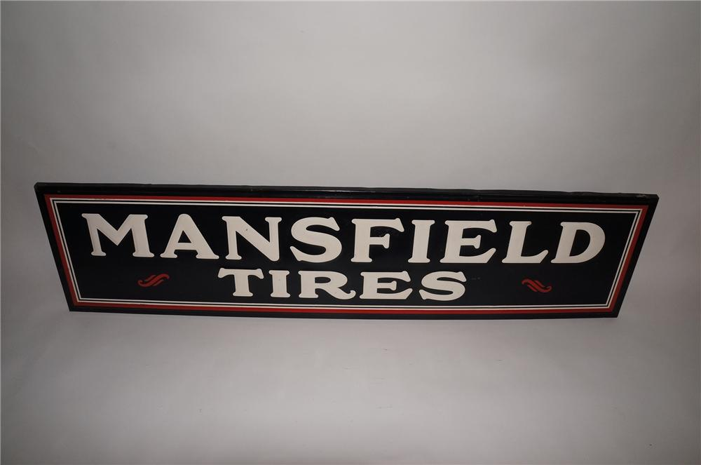 Very clean 1930s Mansfield Tires embossed tin wood framed garage sign. - Front 3/4 - 130757