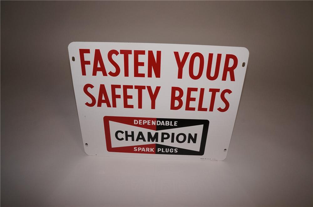"""N.O.S. 1960s Champion Aviation Spark Plugs """"Fasten Your Safety Belts"""" double-sided tin airport runway sign. - Front 3/4 - 130759"""