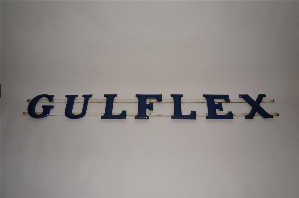 "1940s Gulf Oil service station ""Gulflex"" single-sided porcelain letter sign. - Front 3/4 - 130763"