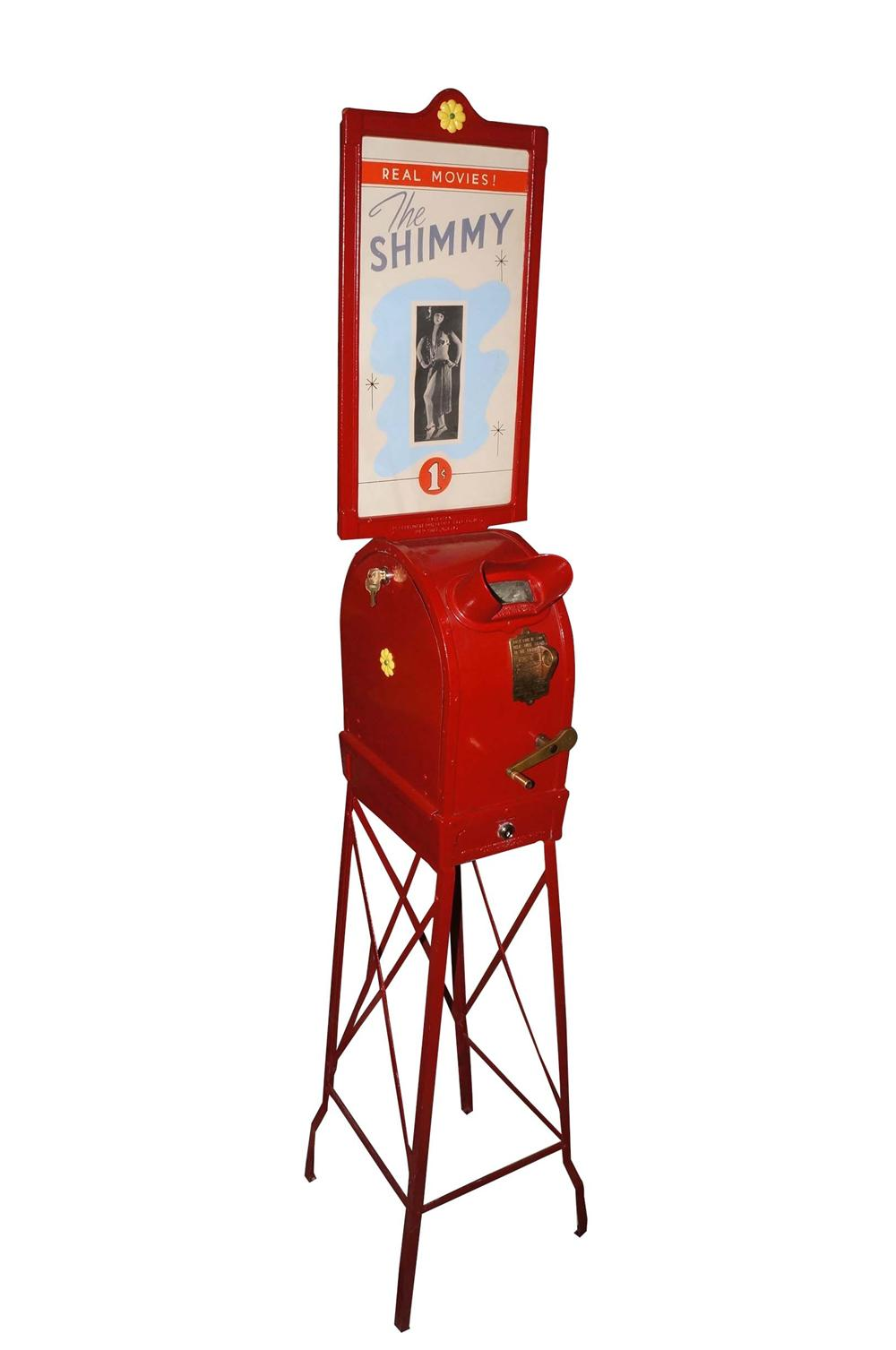 "Museum quality 1920s one cent coin-operated Mutoscope showing a dancing vixen doing the ""Shimmy"". - Front 3/4 - 130767"