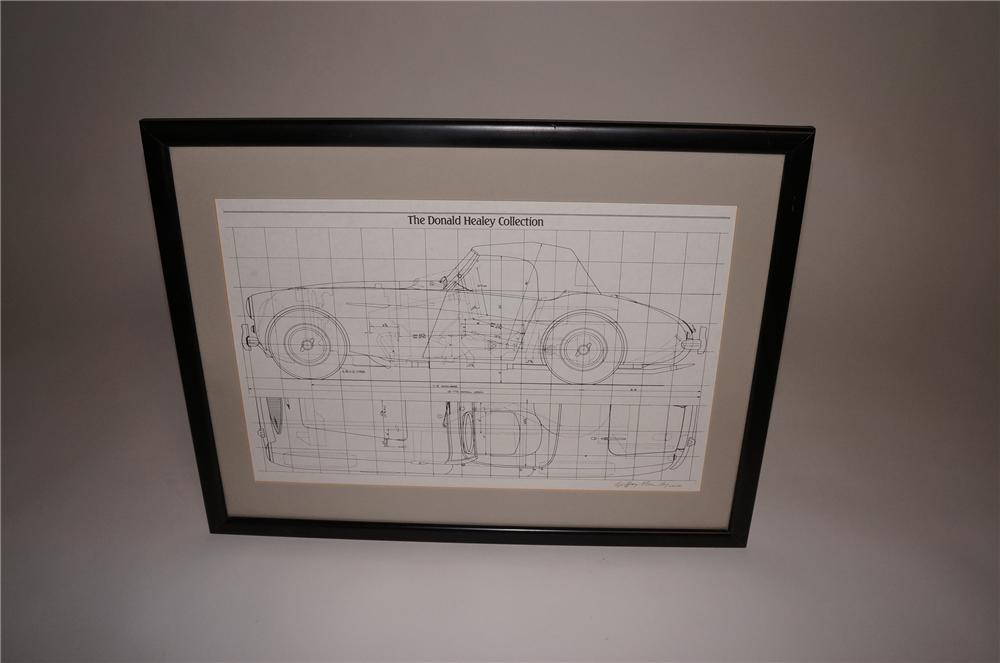 "The Donald Healey Collection limited edition blue print of the famed ""Austin Healey""  Autographed by Healey and Coker. - Front 3/4 - 130772"