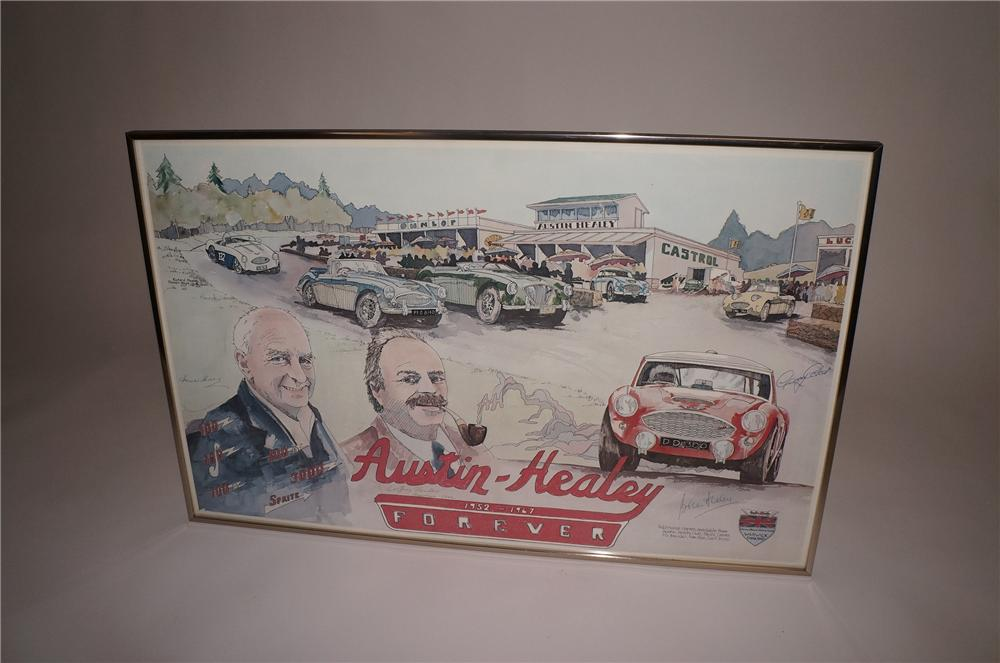 Austin-Healey Forever 1952-1967 signed print autographed by Jerry Coker, Donald, Geoffrey and Brian Healey. - Front 3/4 - 130773