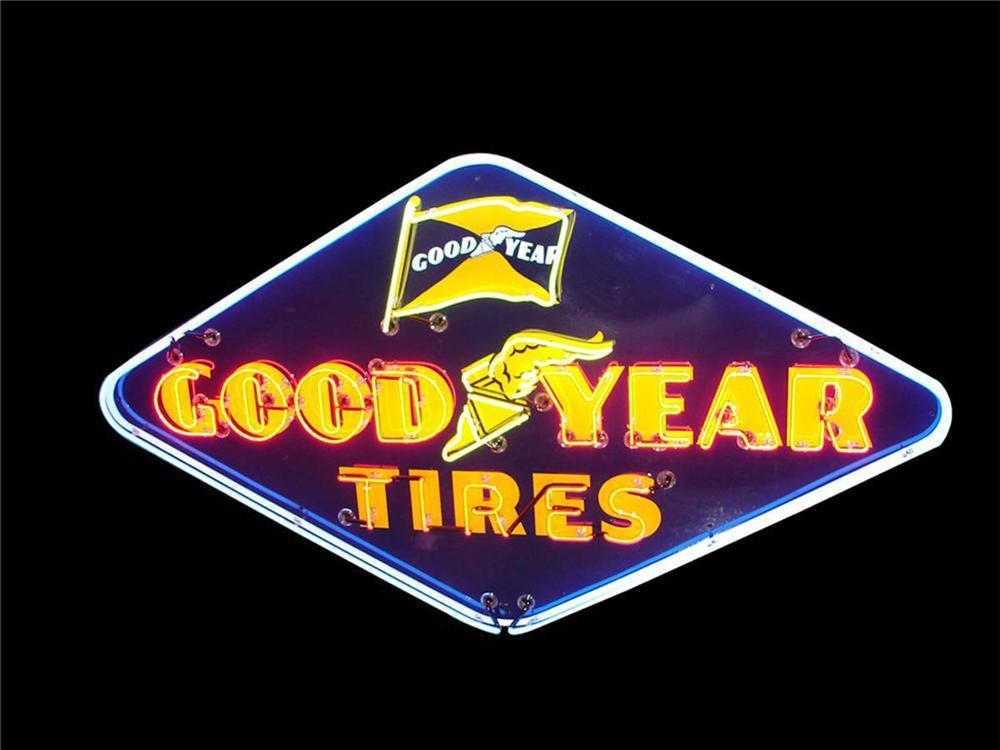 Spectacular large 1950s Goodyear Tires single-sided neon porcelain service station sign with animated neon.Size - Front 3/4 - 130798