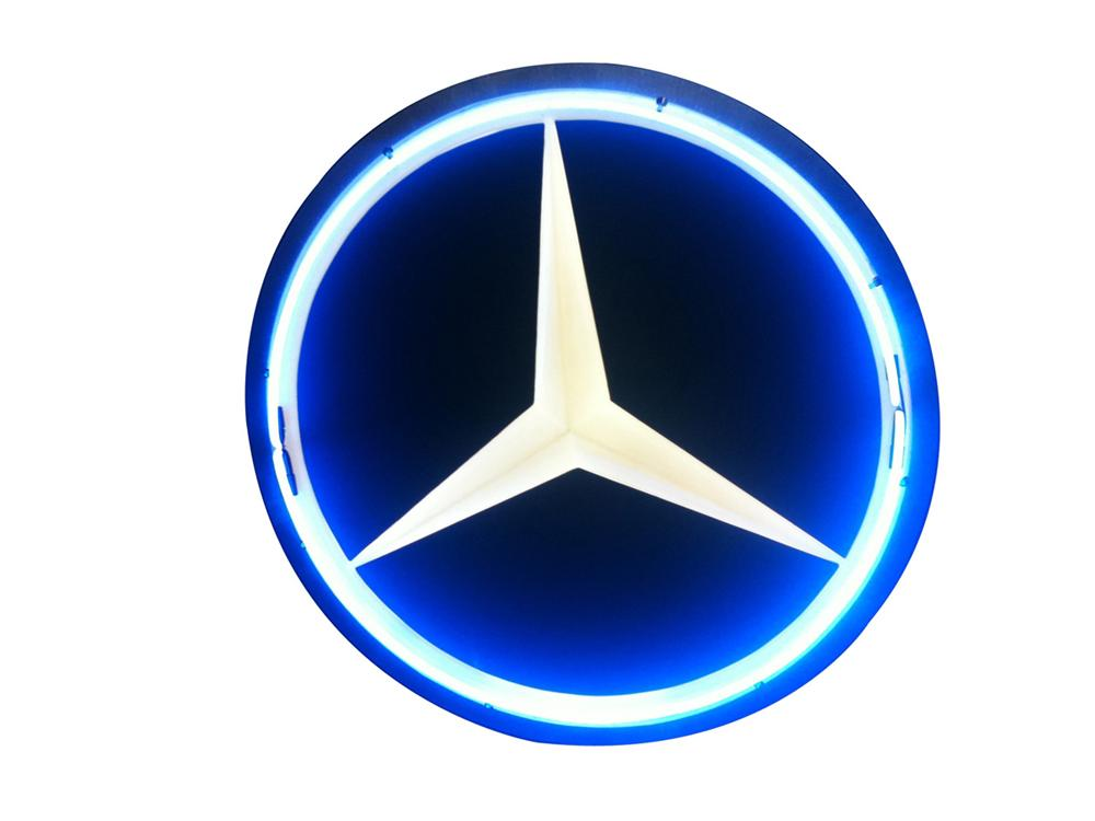 Rarely seen mercedes benz internally lit neon dealership for Mercedes benz sign in