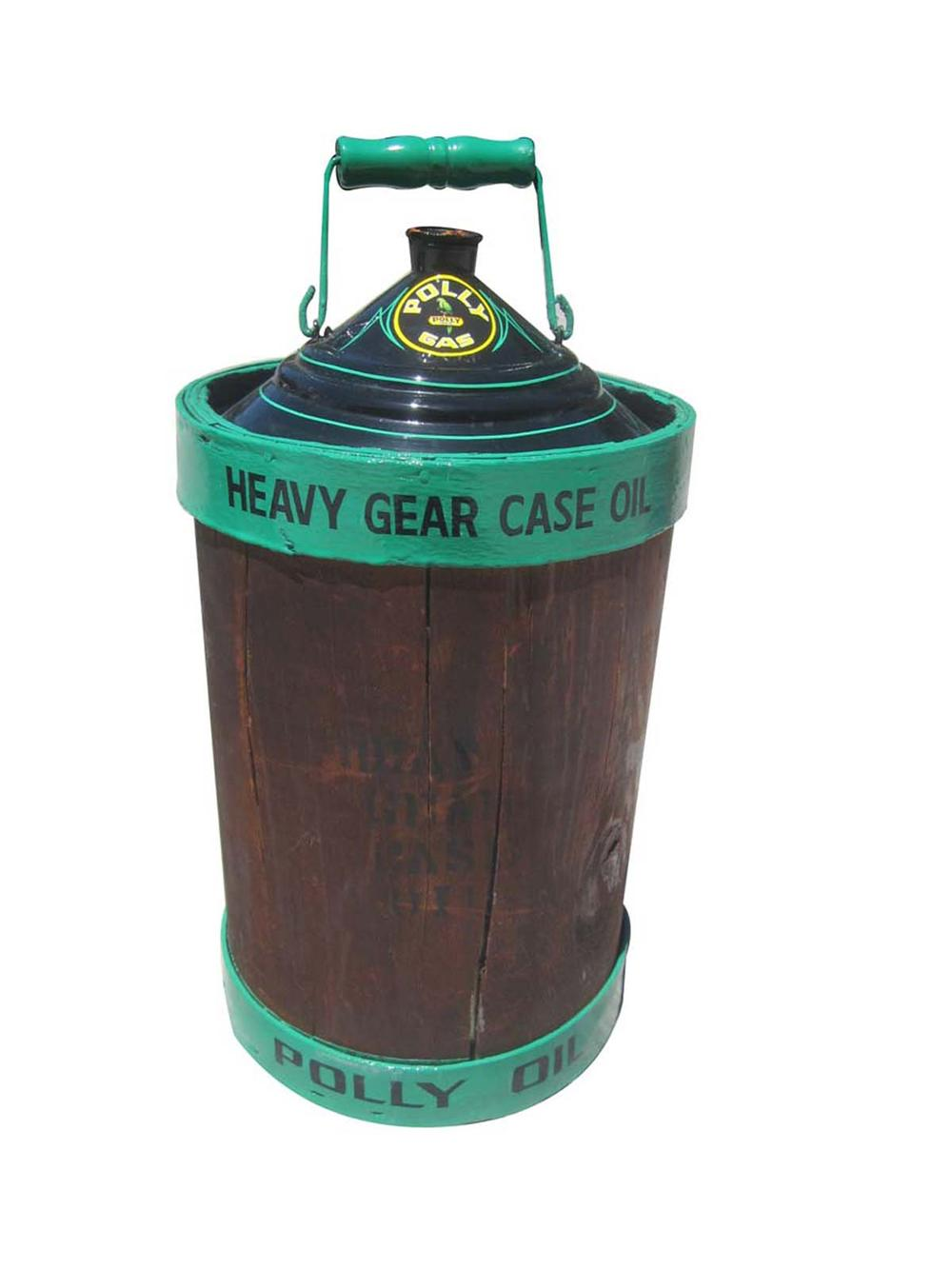 Immaculately restored five gallon wood encased Polly Gas can from the early 1900s. - Front 3/4 - 130806