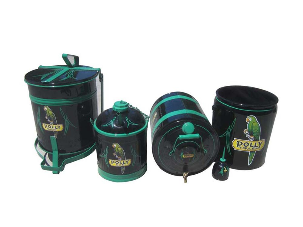 Diverse collection of five 1930s Polly Gas cans all restored to the highest possible quality. - Front 3/4 - 130808