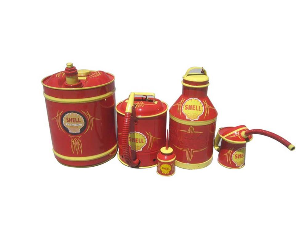 Collection of five well restored Shell Gasoline and Oil Cans. - Front 3/4 - 130809