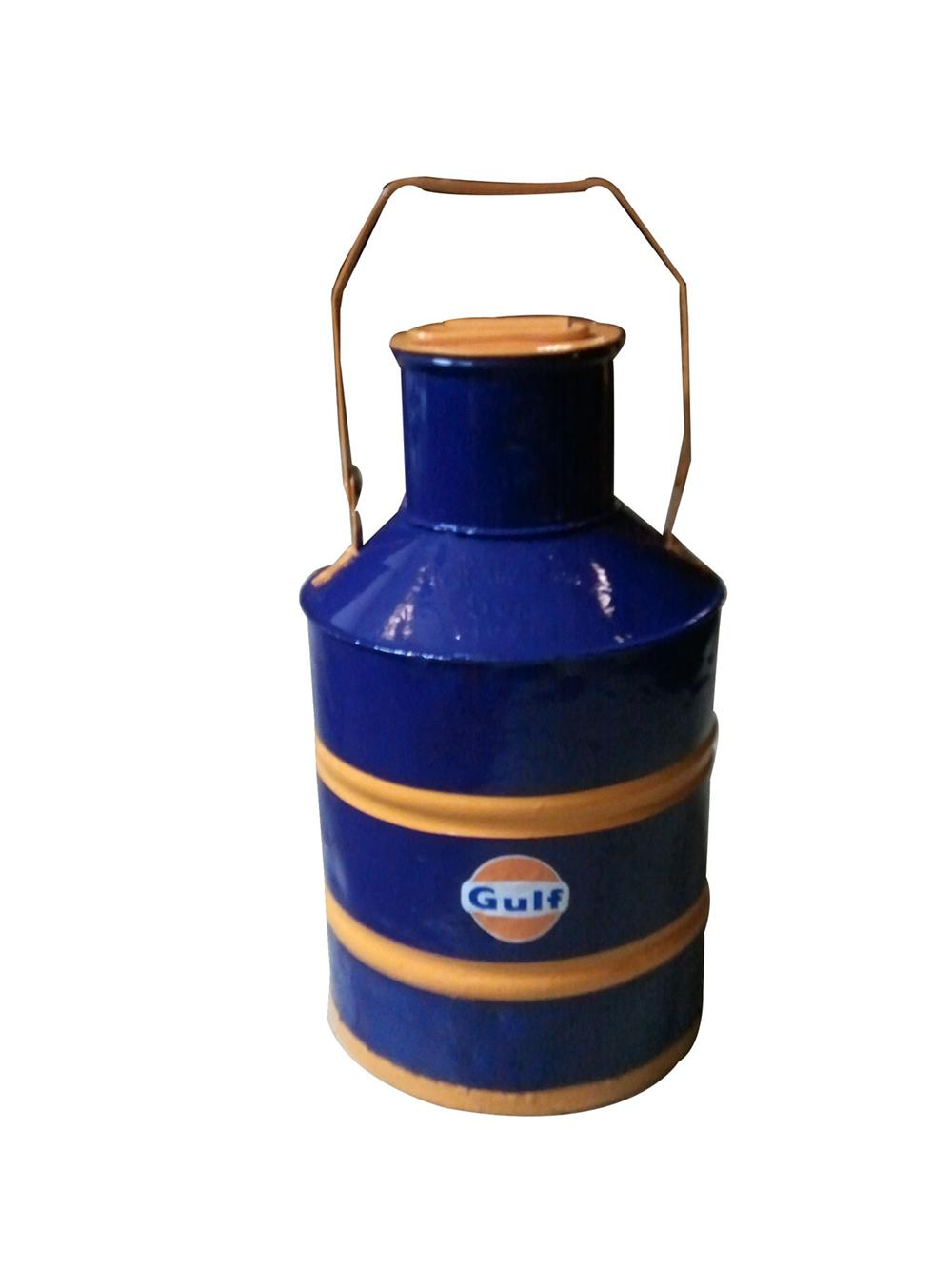 Restored 1930s Gulf Oil service station gas can. - Front 3/4 - 130813